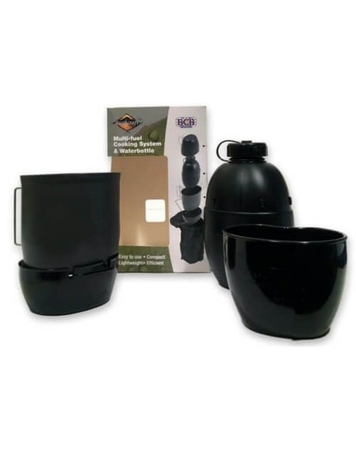 Bushcraft Multi-Fuel-Cooking-system & Waterbottle - Schwarz