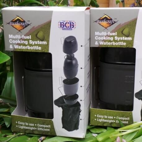 Bushcraft kooksysteem met waterfles Multi-fuel - Leger Groen