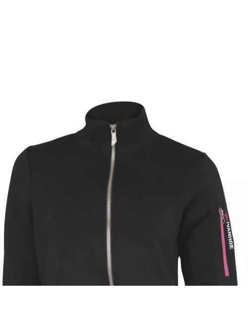 Ivanhoe windbreaker Flisan WB Black with zipper merino wool - Black