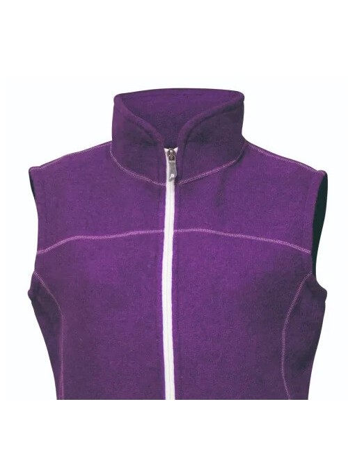 They women's vest, Beata boiled wool, sporty, and nice, warm, Purple