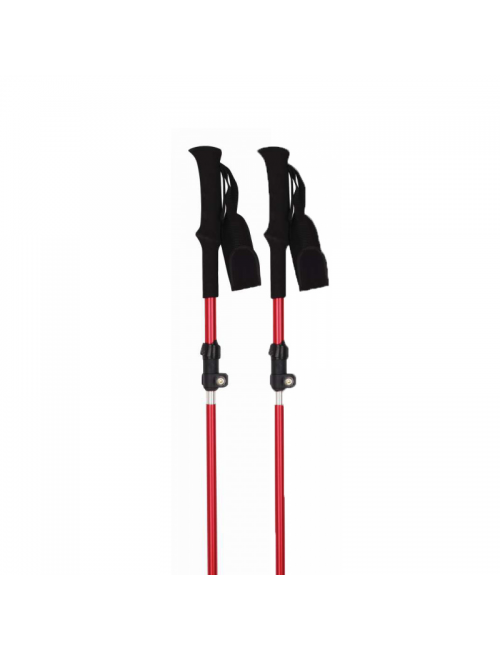 Dogs and walking poles (pair) Trekking in the Gig, the 3-part, folding design - Red